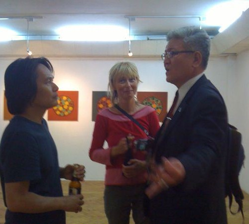 gallery chat, Shinji, Karin and Mongolian scholar