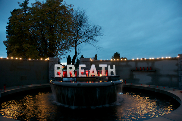 Breath - Breath, our first and our last, each one in between precious. Ice letters installed in fountain, high winds, warm temps and rain made for a very ephemeral piece.