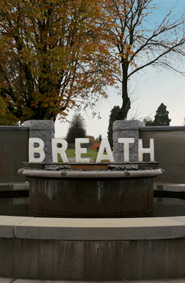 Breath, Day - Installed in the afternoon before the heavy rains and wind. Fountain turned off, hip waders needed. cold.