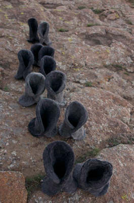 Ghengis Boots. There is a big revival in Ghengis Khan in Mongolia. The starkness of the landscape gives a glimpse of the culture.