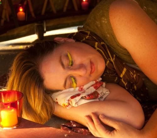 Ms Cornucopia asleep in her yurt skirt