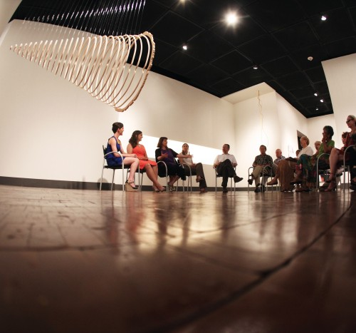 Preview talk in the gallery. Photo: Eric Stoner.