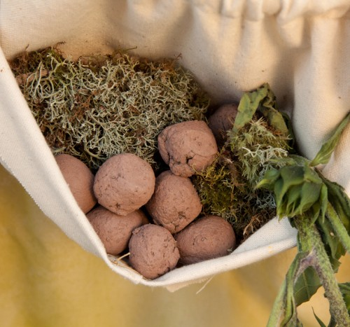 Seed bombs make by workshop participants, filled with native California flower seeds