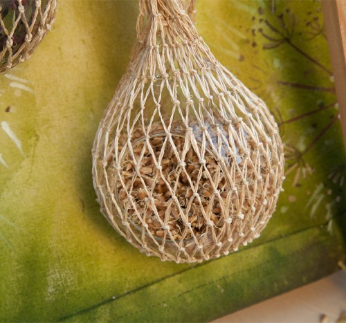 making sprouts in glass globes hung in sisal mesh bags