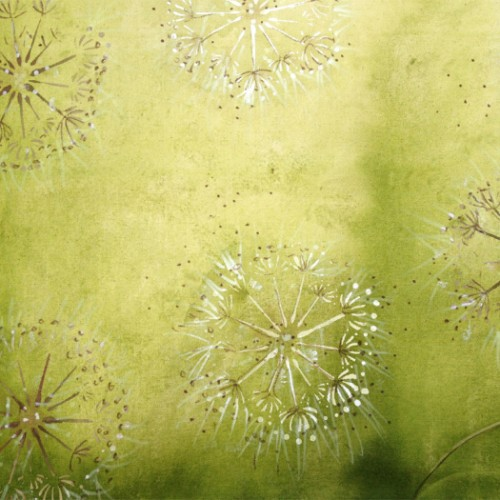 Hand painted canvas with Dandelion motif