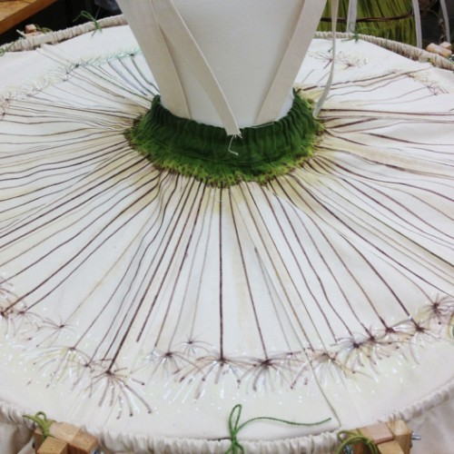 Dandelion motif painted on skirt top