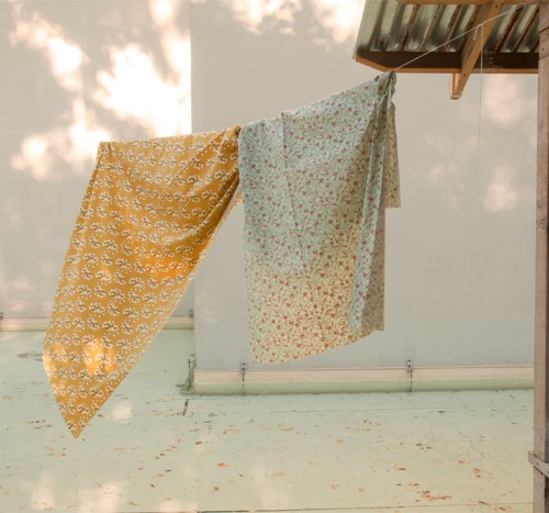 Hanging linens to dry at the camp