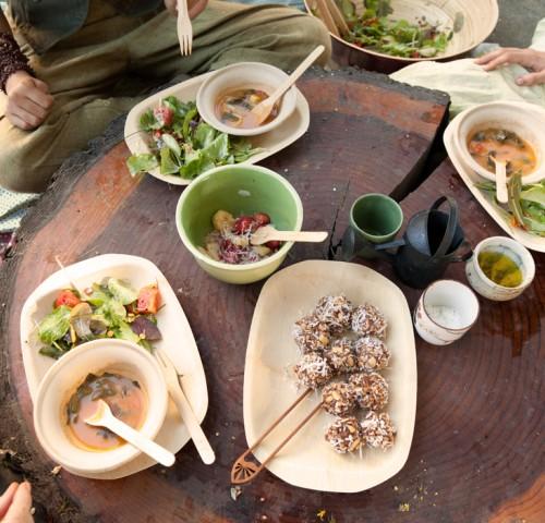 Soup, salad, energy balls and fruit salad