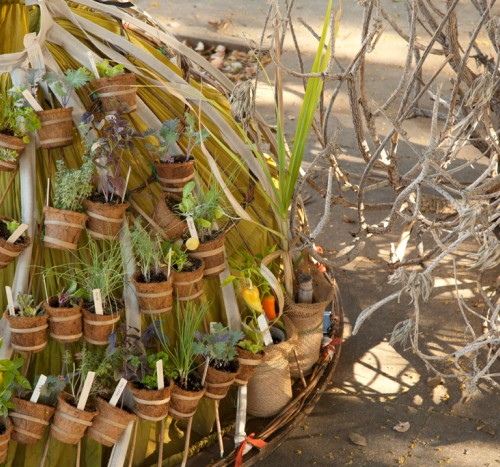 The Mobile Garden Dress and its pots of herbs and vegetables