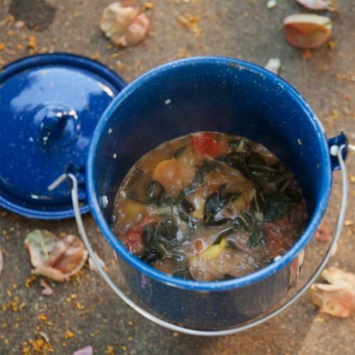 The soup was cooked on a portable camping stove