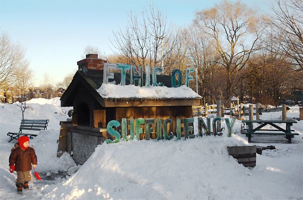 Ethic of Sufficiency - Dufferin Grove Park has a very active community that grows, sells and cooks food for the neighborhood.
