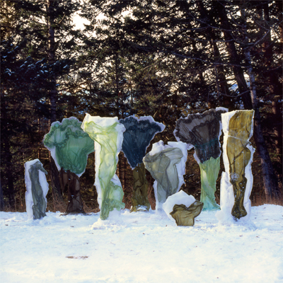 Green Skirts - Installation in Banff AB of a series of silk fabrics formed to resemble natural life forms.