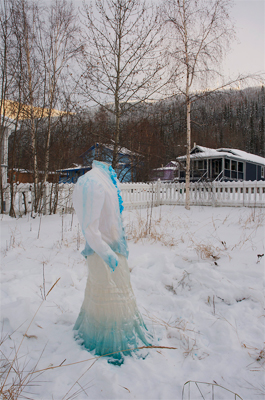 Victorian Ice Dress - Installation in the historical town of Dawson City. Dress sprayed with water over time to form a thick layer of ice.