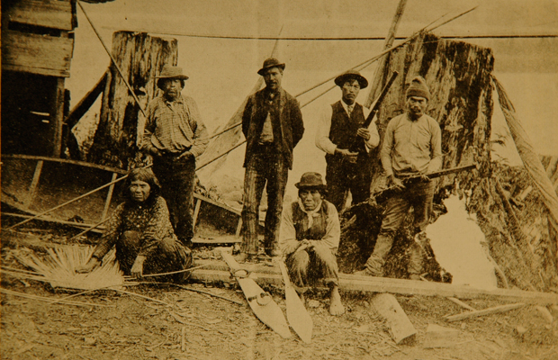 Jericho Charlie - Original photo, circa 1891 of some first nations inhabitants of this area including Jericho Charlie on the far left who was stepfather to Khahtsahlano (August Jack) after whom this area was named.