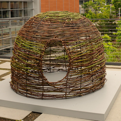 Blackberry Vines, Willow Branches and Steel  - While this sculpture echoes the use of thorn-bearing plants to protect and exclude property, it also speaks to the fundamental need for shelter for the many homeless.