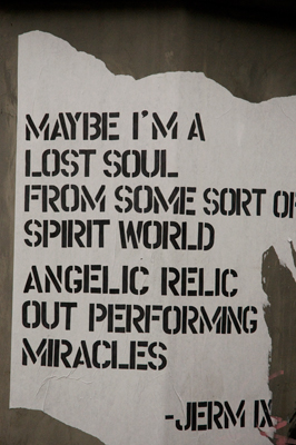 Angelic relic - Graffiti on the concrete pedestal for falling angels.