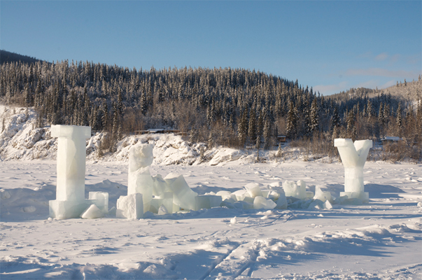 L----Y -  The next day the only letters left standing are the L and the Y. In the end the ice blocks resembled the ruins of some forgotten ancient city.