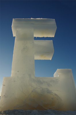 E-Resources - Cast ice detail of the letter E.