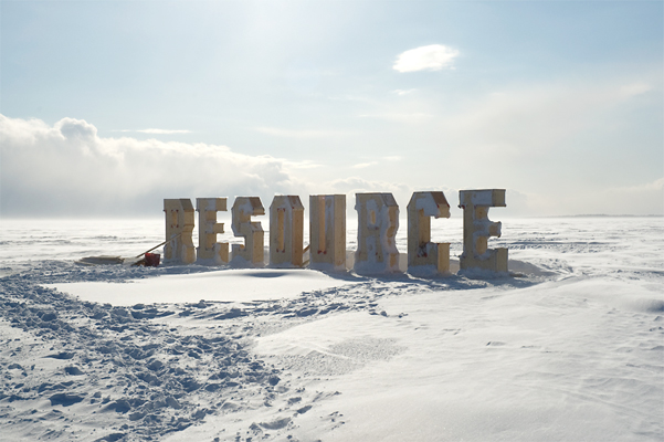 Resource Moulds - Wooden forms onsite on the lake are filled with water. A week of minus 10 Celsius is needed to freeze an area this size.