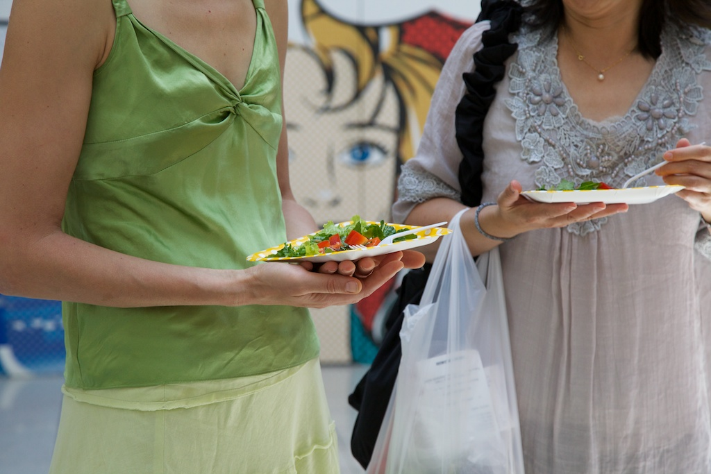 A salad was prepared and shared with the public.