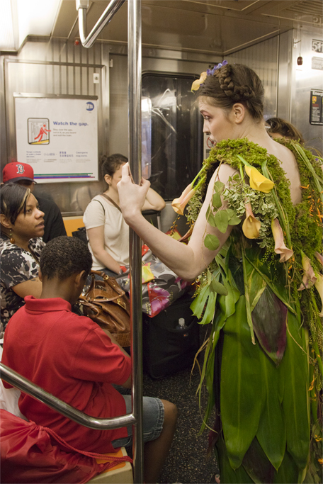 Talking about eco-fashion on the subway. This woman expressed her desire to buy organic clothes for her kids.
