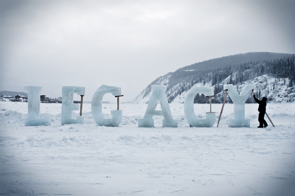 Legacy, Ice- 8 foot high ice text on the Yukon River, Dawson City, Yukon.