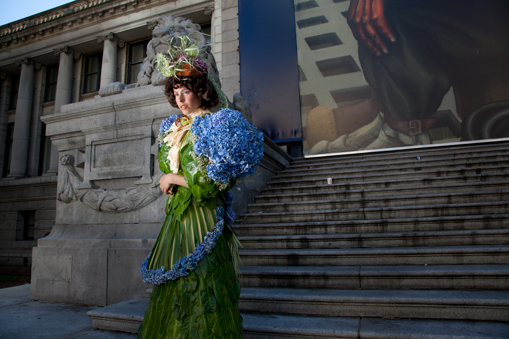 Miss Laurel Green-Fairfashion speaks on the steps of the Vancouver Art Gallery about her support for women's emancipation and her fight for reforms in the garment industry of her day.
