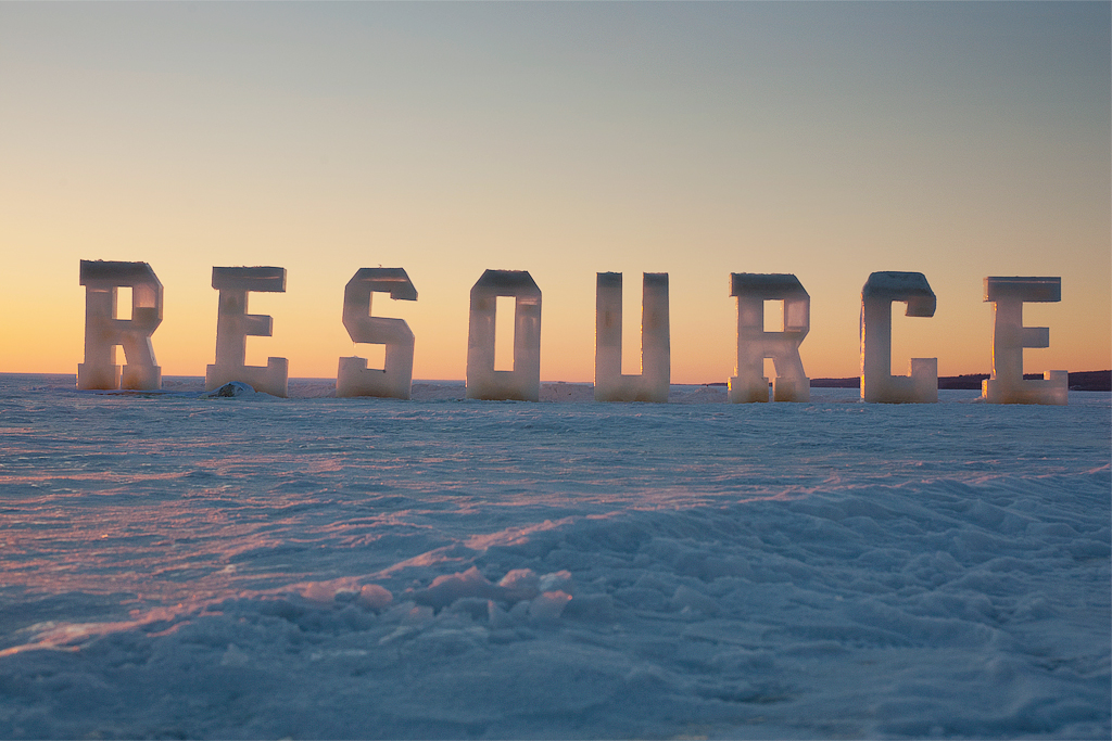 Resource at Sunset - 7 foot high letters cast in solid ice.