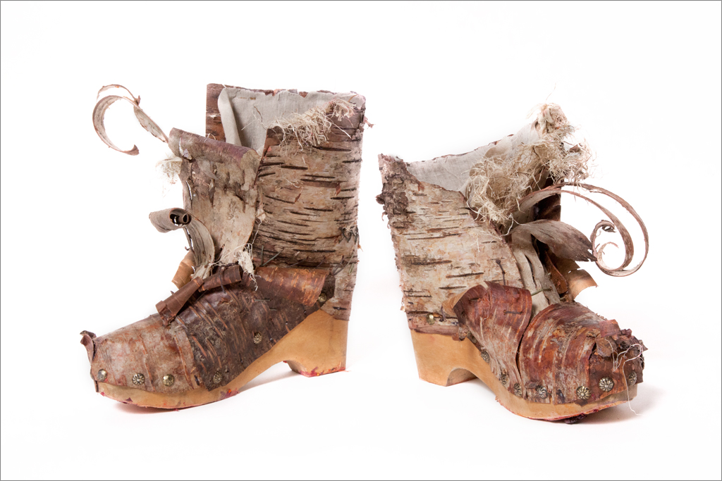 The Tree Bark Boots fashioned from various barks onto a wooden sole are your footwear of choice for impromptu clog dancing.