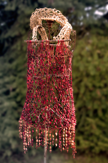 The cranberries have dried, leaving the basic shift dress intact after the dance.