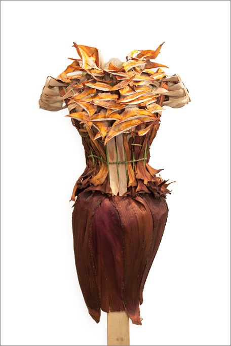 The Dracaena in the Desert dress made from the Dracaena Draco plant and Palm Husks is the perfect carapace for a Southern California fashionista.