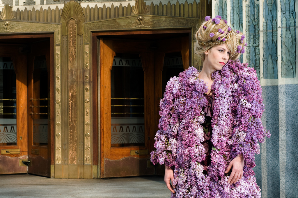 The scent from the fresh Lilacs in this garment wafted down the street and attracted pedestrians.