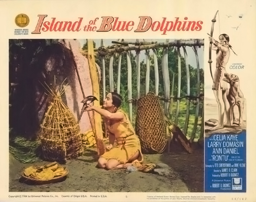 Poster for the film adaptation of Island of the Blue Dolphins in 1964 where she sported a buckskin dress.
