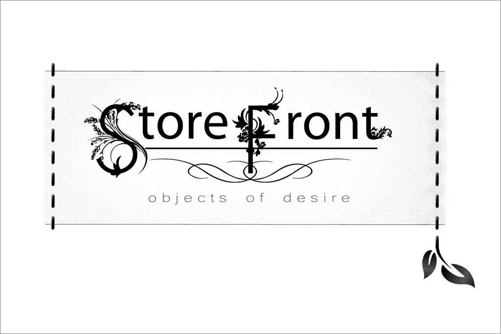 The StoreFront objects of desire logo is featured on signage, tags and advertising to bring you the full mock retail experience.