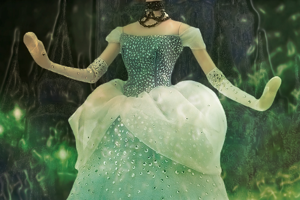 The dresses' design evokes the short curved sleeves and the puffy overskirt of the romanticized Cinderella who lies in wait for a prosperous Prince Charming in the now abandoned Magic Kingdom in nearby Anaheim.