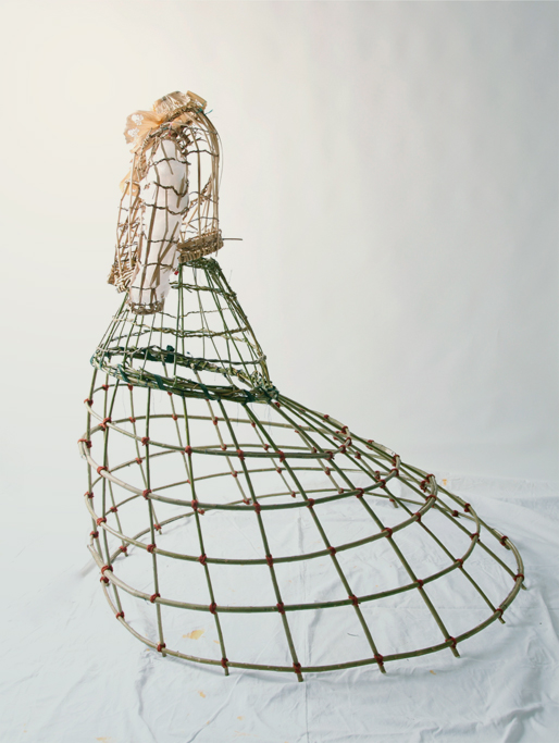 Based on the Victorian hoop skirt, the armature is made from Willow branches from my garden.