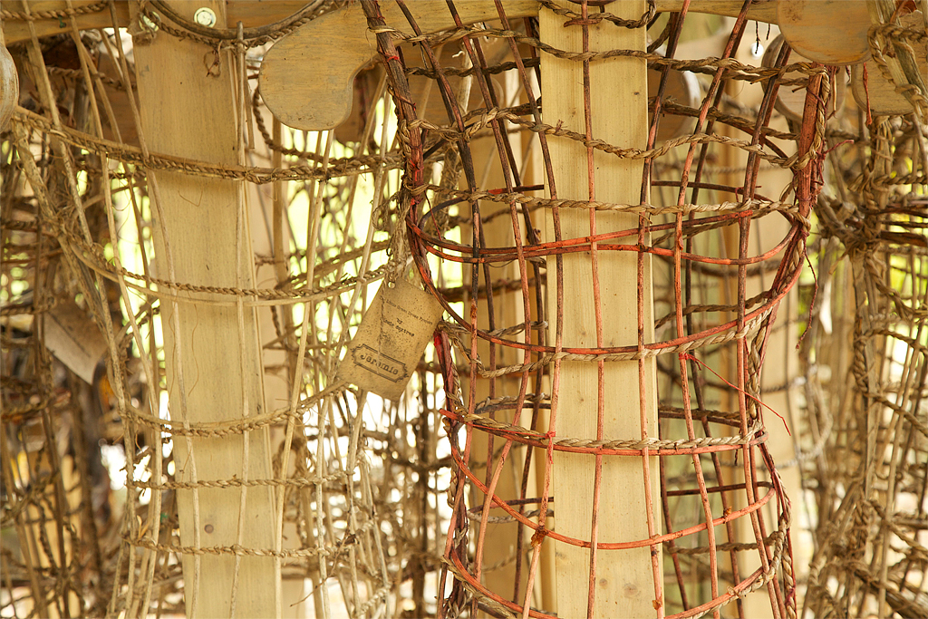 The dress armatures made from Seagrass and Reed, were salvaged and recycled for other projects.