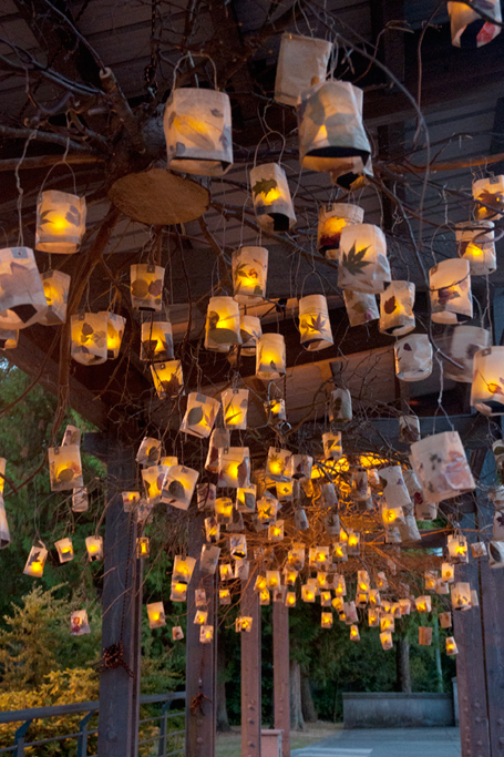 At dusk the lanterns were raised and they began to glow.