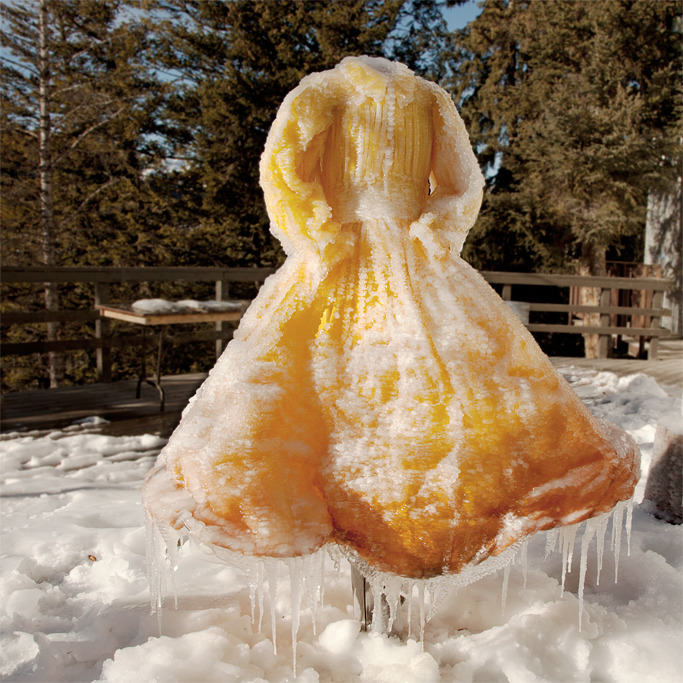 The project began as an experiment in freezing garments by spraying water on them.