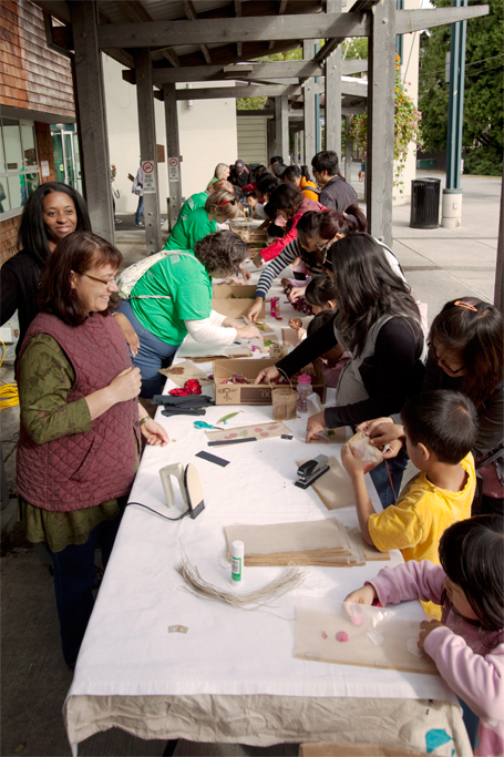 The lantern making workshops were busy all day. Photo by Tim Matheson