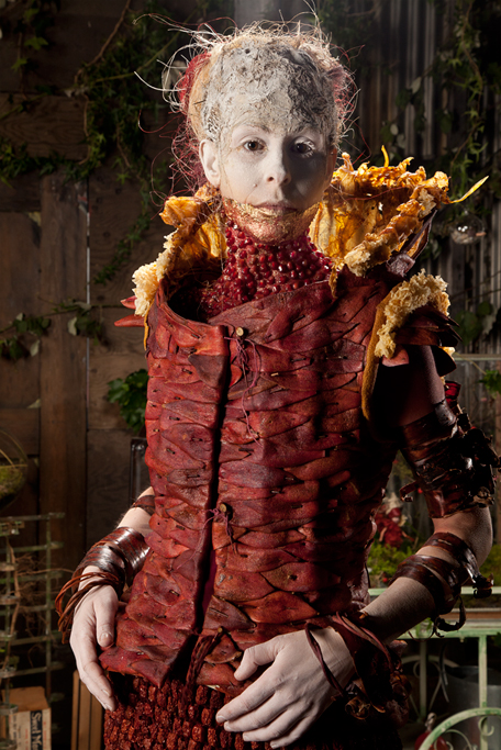 Ever resourceful and stylish she has fashioned her clothing out of Pomegranate peels, fruit leather and dates.